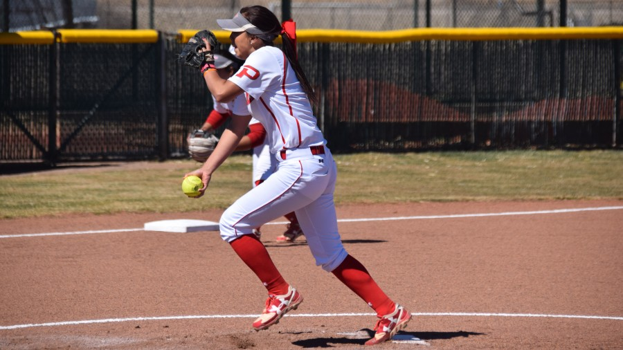Senior Julia Ibarra pitched her first two games of the season this weekend against the University of the Southwest at Hobbs, N.M.-Sarah Brady photo (2017)