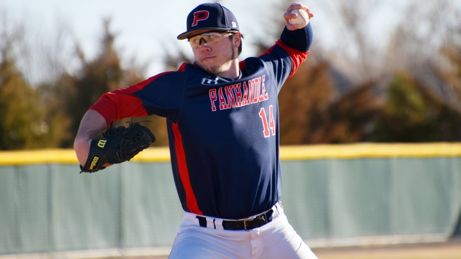 Freshman pitcher Garrison Armstrong lived up to his namesake lasting five innings at ENMU.-Taylor Jacobson photo