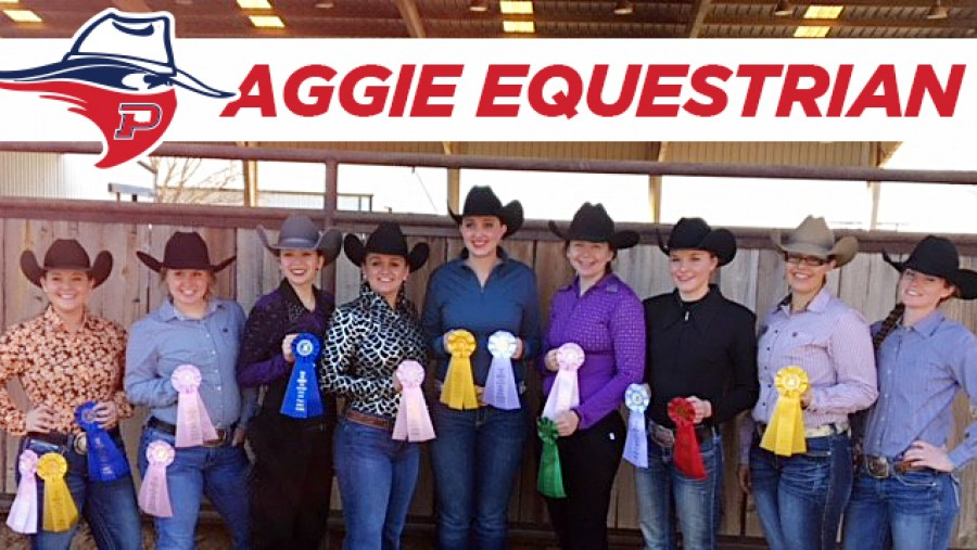 The Panhandle State Equestrian Team shows off their collection of ribbons won at the Texas Tech Western Show Feb. 3-4. - Courtesy photo