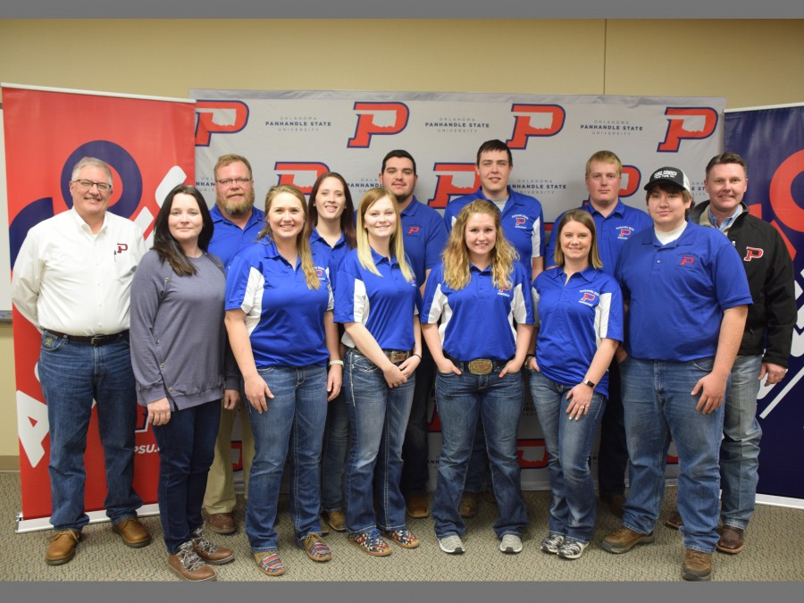 Members of the Panhandle State Crops Judging pause for a photo with faculty and administration members following the Regional Crops Judging Contest hosted in Goodwell. —Photo by Danae Moore