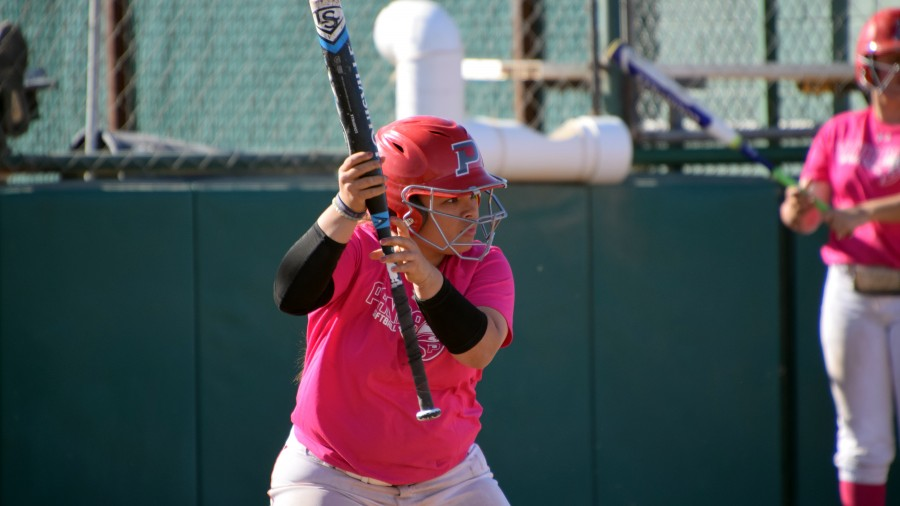 Third baseman Jaylinn Reyes was a force for the Aggies at the plate, hitting .750 in Saturday's DH against Sterling College.-Taylor Jacobson photo