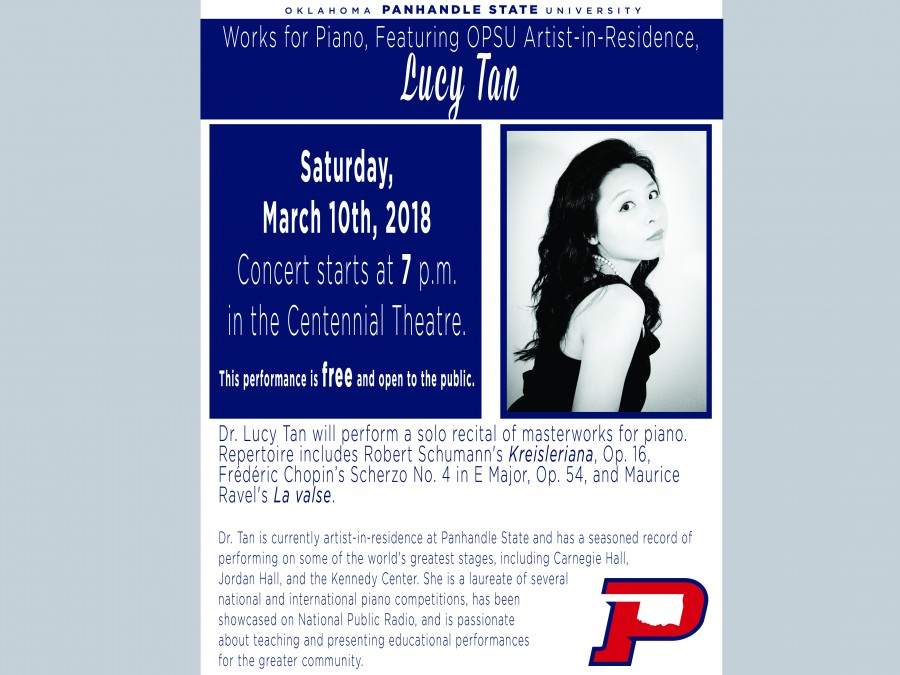 Join us for Artist-in-Residence Dr. Lucy Tan's solo recital of masterworks for piano Saturday, March 10th at 7 p.m. in Centennial Theatre.