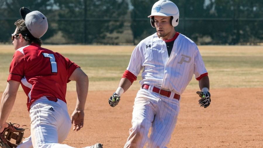 Senior Nate Kelly went 6-9 at the plate in the Aggies' series sweep of Bacone College.-Beverly Hintergardt photo