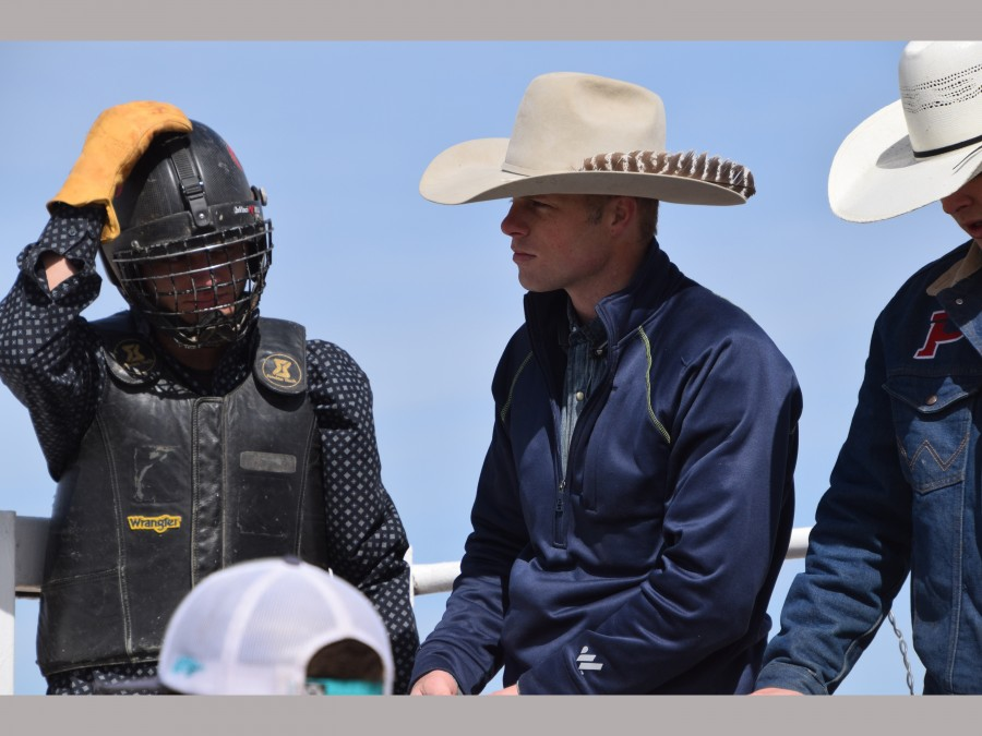Joe Frost (center) recently hosted a Bull Riding School at Panhandle State. —Photo by Taylor Jacobson
