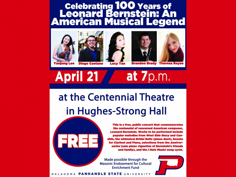 "Join us this Saturday for ""Celebrating 100 years of Leonard Bernstein: An American Musical Legend"" on Saturday, April 21 at 7 p.m. in Centennial Theatre on campus."