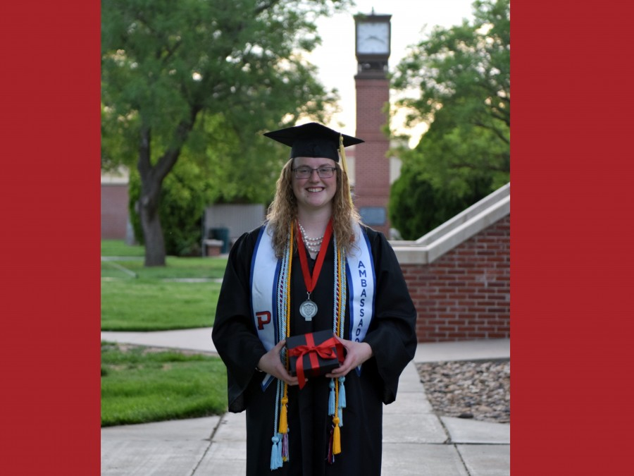 Sarah Brady, a double major in Agriculture Education and Elementary Education, was named the J.R.P. Sewell award winner at the Panhandle State Commencement Ceremony on May 10th. The award was established in 1949 in memory of the late J.R.P. Sewell. —Photo by Danae Moore