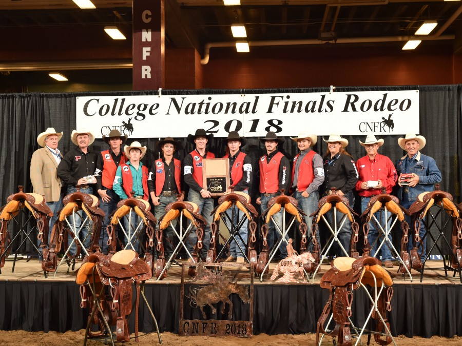 The Panhandle State Men's Rodeo team secured the University's second consecutive National Title on Saturday night, June 16th at the CNFR in Casper, Wyo. This championship took the University's tally to seven with previous titles in 1997, 1998, 2000, 2004, 2013, 2017, and now 2018. —Photo by Dan Hubbell