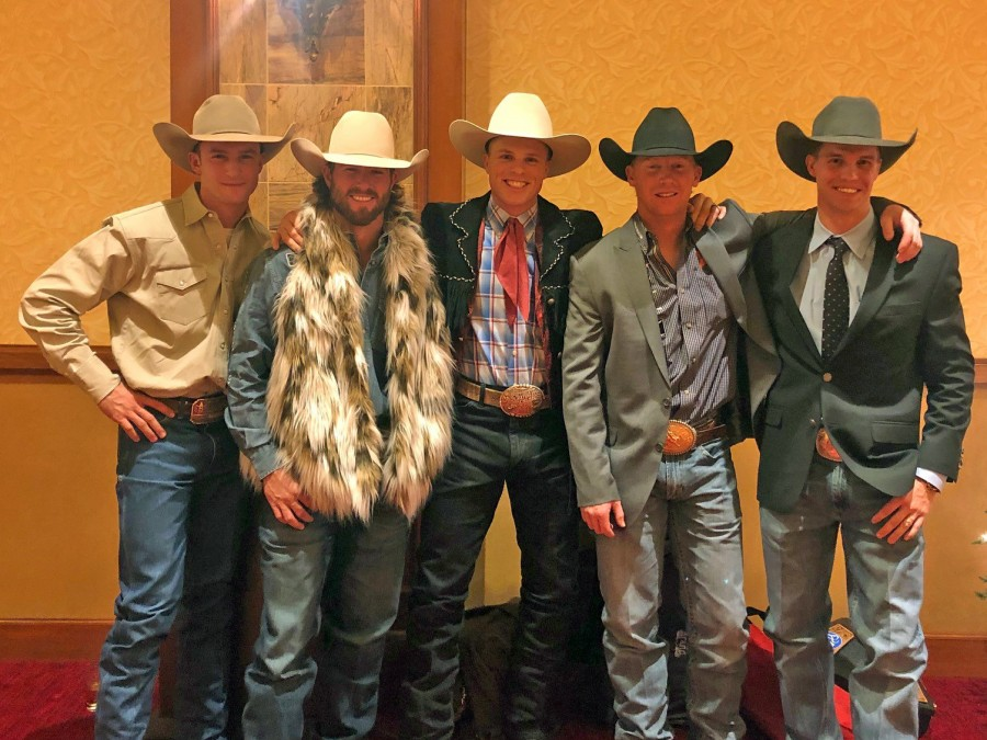 Five former Oklahoma Panhandle State University cowboys have earned their spot at theWrangler National Finals Rodeo (WNFR) December 6-15 inside the Thomas and Mack Center at Las Vegas. Left to right: Clay Elliott, Cort Scheer, Joe Frost, Taos Muncy, and Orin Larsen — Courtesy photo