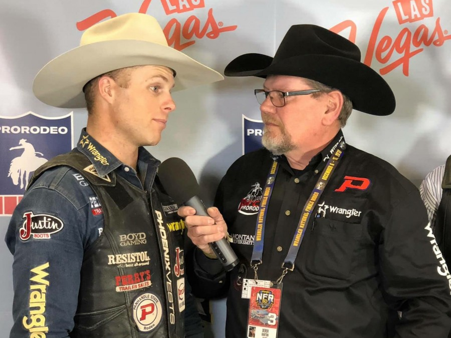Panhandle State graduate Joe Frost (left) earned second place in the average at the WNFR, landing him a third place finish in the world standings.— Courtesy photo