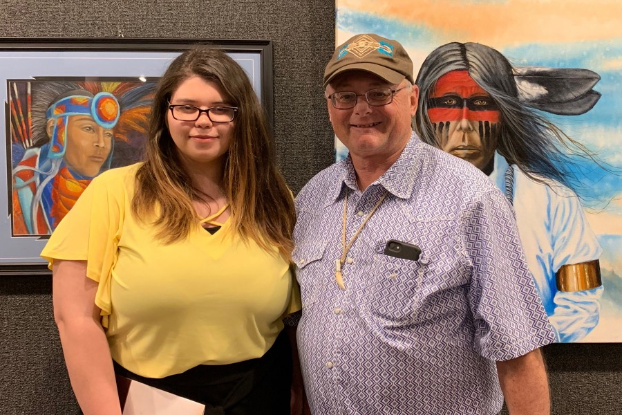 Carly Pryor (left) and Bryon Test were selected to exhibit artwork at the 48th Annual Trail of Tears Art Show and Sale in Tahlequah, Okla. — Courtesy photo