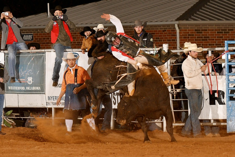 Dustin Martinez won the average in the bull riding at the SWOSU rodeo in Weatherford, Okla. — Dale Hirschman photo