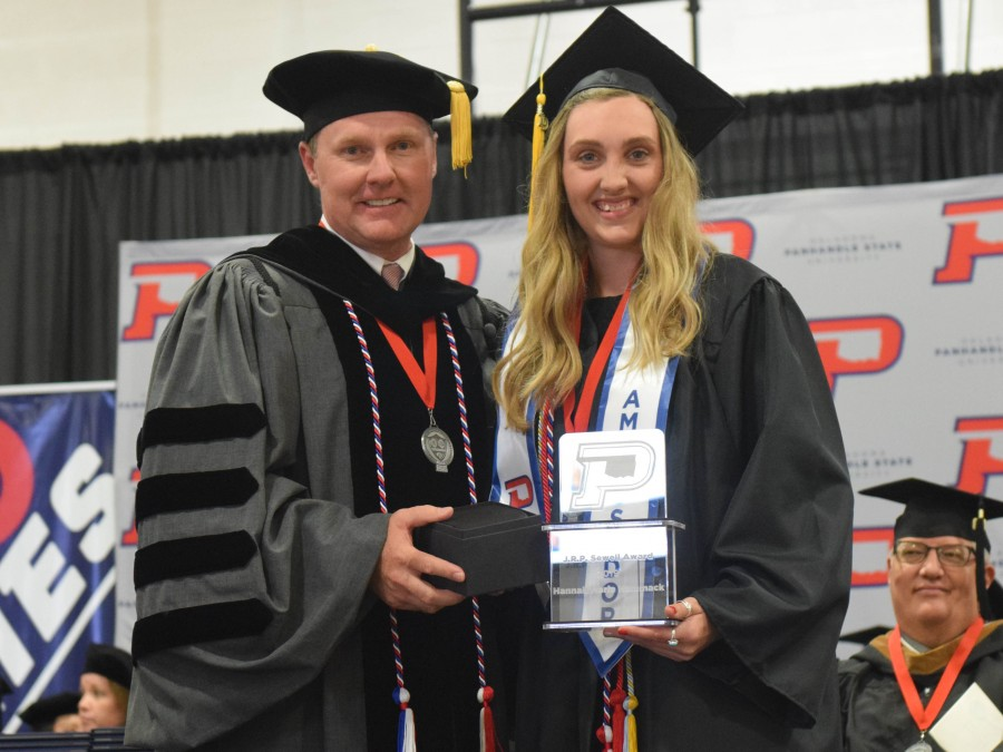 Hannah Hammack (right) was named the 2019 J.R.P. Sewell award winner during the 109th Panhandle State Commencement. —Photo by Danae Moore