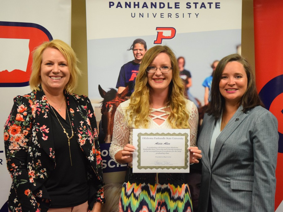 A number of graduates were recognized during the annual Ag Banquet in honor of their academic accomplishments. Alicia Allen (center) is pictured here with Dean Shawna Tucker (left) and Vice President of Academic and Student Affairs Dr. Julie Dinger (right).—Photo by Hannah Haase
