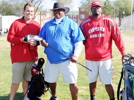 Sean Livengood, Anthony Randle, and Devin McDonald took first place in the PBL Golf Scramble-Justine Gaskamp photo