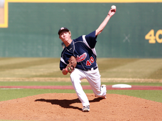 Aggie pitcher Sam Beattie went five innings against Lubbock Christian Friday in game one of a three-game series.—Courtesy photo