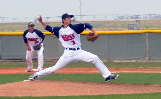 Freshman pitcher Josh Casillas earned his first win on the mound against Colorado Christian.—Kelsey Moser