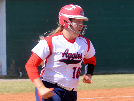 Madison Heathington brought in four runs with a grand slam homer Tuesday against Eastern New Mexico.—Kelsey Moser photo