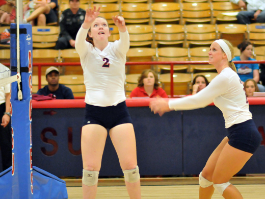 Freshman Skylar Mayeux (#2) led the Aggies in assists against Lubbock Christian University.—Kelsey Moser photo.