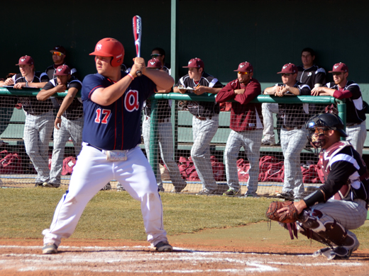 Freshman Evan Offutt had a good day at the plate Friday hitting a double and a home run against McMurry.—Sarah Henderson photo