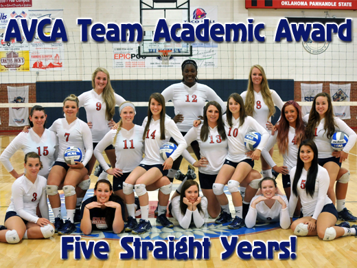 The 2013Aggie Volleyball team received their fifth straight AVCA Team Academic Award.