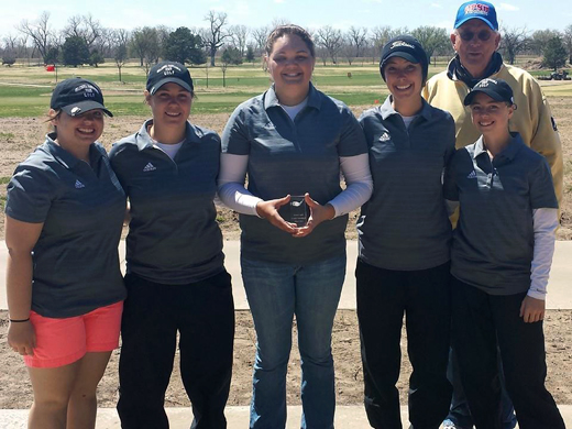 OPSU women's golf team (from left): Checutah Beck, Taylor Coffman, Ashley Ogle, Abigail Ferguson and Samantha McCay with assistant coach John DeSpain earned second place in the Sterling Invitational.-Courtesy photo.