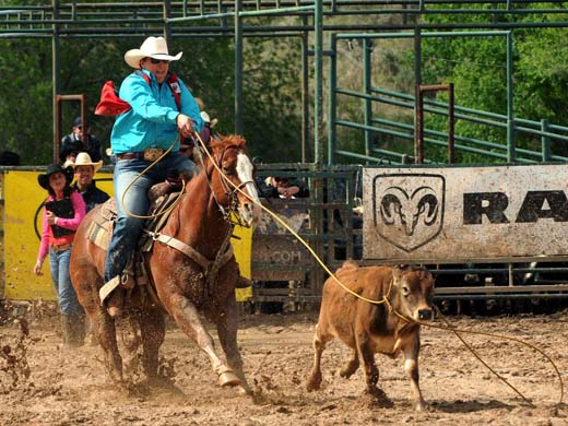 "Shelbie Weeder finished her college rodeo career on a high note at the ""Doc"" Gardner Memorial Rodeo earning the Women's All-Around title. —Photo by Dale Hirschman"